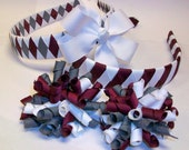 School Spirit Hair Accessory Bundle-- 2 Headbands and 3 Bows--You choose up to 3 School or Uniform Colors