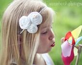 Rolled Rosette Headband All White on Skinny Elastic Headband-Newborn thru Adult - Photography Prop