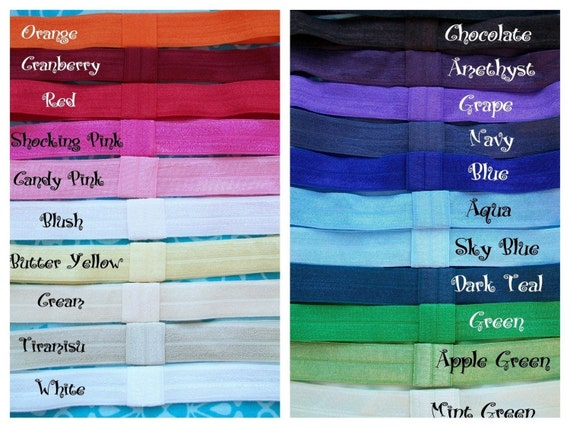 Interchangeable Satin Soft Elastic Headbands-ANY 10 from OVER 30 Colors-All Sizes Available