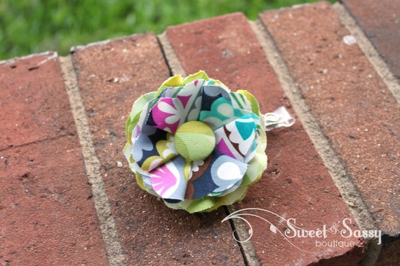 Layered Fabric Flower ID Badge Holder with Retractable Reel - Perfect Teacher Gifts