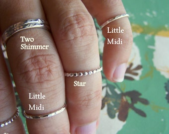 Sterling Silver Hammered Ring, Size 2.5, The Little Midi Ring