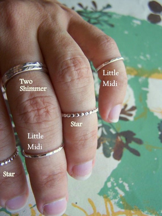 Sterling Silver Hammered Ring, Size 3.5, The Little Midi Ring