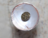 Sterling silver ivory shell ring with sparkling gold pyrite stone