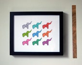 Technicolor Elephants Print