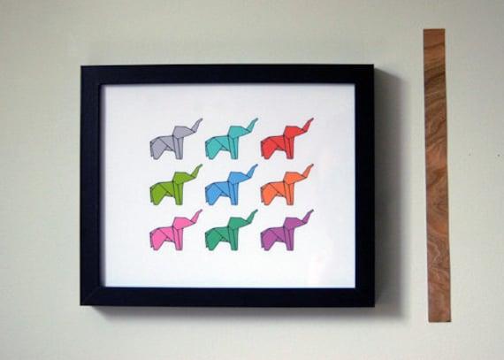 Technicolor Elephants Print