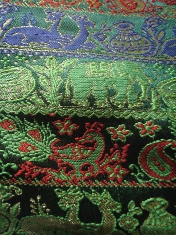 Unique Birds and Animals brocade Silk in Green