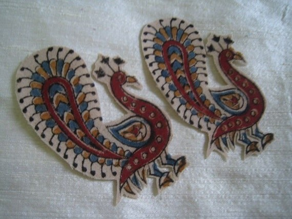 2 peacock Kalamkari Patches