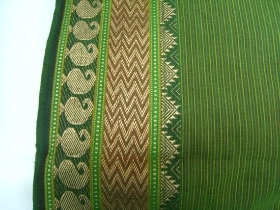 Half yard Beautiful Handloom Cotton Green Paisley Border Fabric