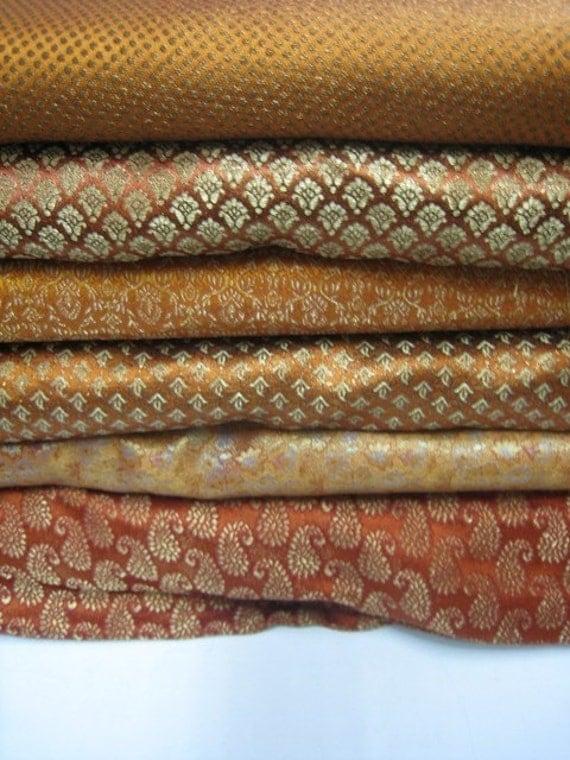 Orange Silk Brocades Fat Quarter Bundle