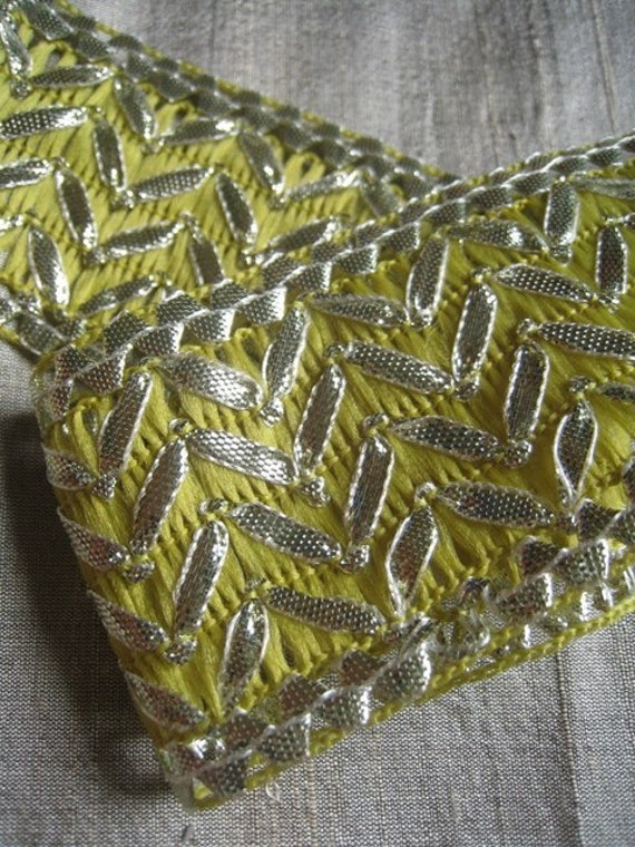 2 yards of light green Jacquard Trim