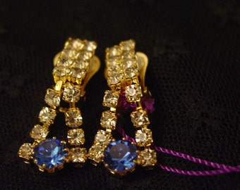 Czech Sapphire Blue And Clear Rhinestone Clip On Earrings