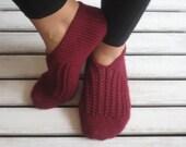 Handknitted Wool Burgundy Slippers, House Slippers, Christmas Gift