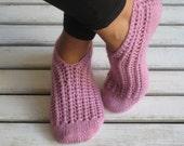 Handknitted Wool Violet Slippers