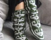 Comfy Wool Dark Gereen Grey Slippers