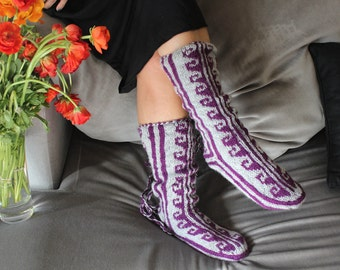 Purple Slippers, Long Slippers, Warm Slippers, Mukluk