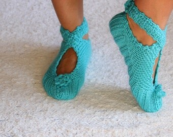 christmas gifts, Blue  Ballerina Slippers, Cozy Slippers, Women Slippers, slippers