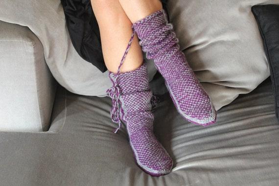 Christmas Gift, Long Slippers, Warm Slippers, Handmade Booties, House Slippers, Mukluk