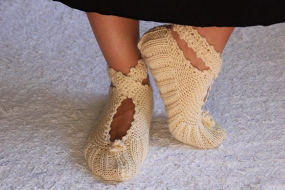 Beige Slippers, Pretty Ballerina Slippers, House Slippers, House Shoes