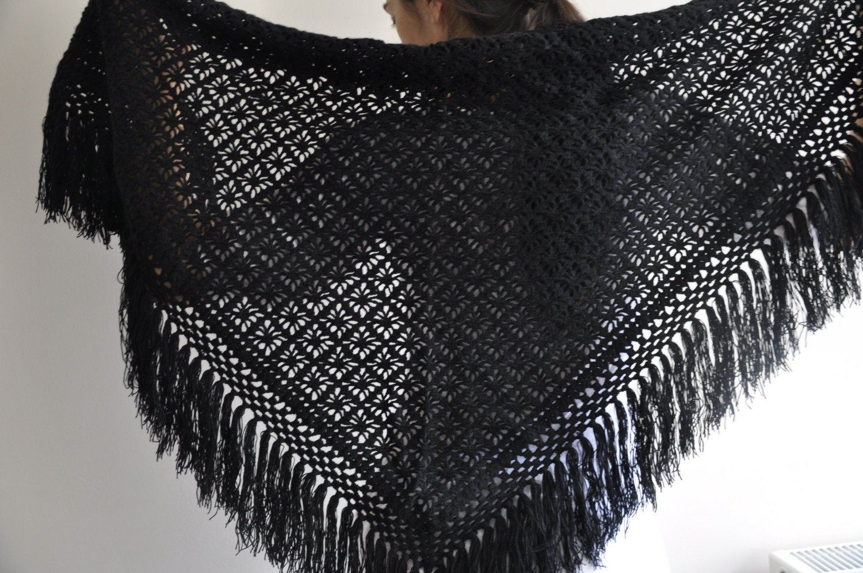 Bessos handmade black shawl by aykelila on etsy