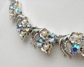 1940s Coro Aurora Borealis and Faux Pearl Collar Necklace