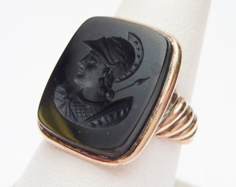 10kt Onyx Centurion Ring Rose Gold 1900s