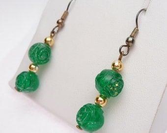 Green Rose Carved Bead Dangle Earrings