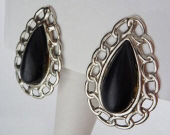 Pear Black Plastic Clip On Earrings