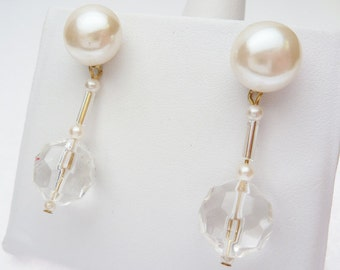 Faux Pearl and Clear Plastic Crystal Dangle Earrings