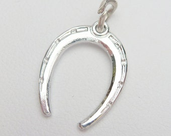 SS Etched Horseshoe Charm Sterling Silver