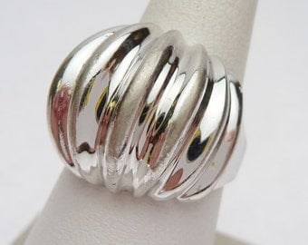SS Ribbed Dome Ring Sterling Silver