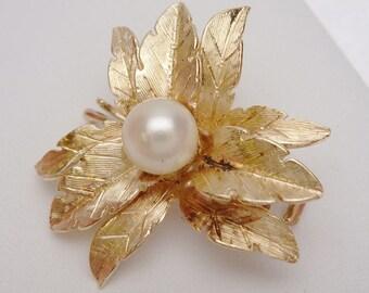 14kt Cultured Pearl Flower Hair Clip Pin