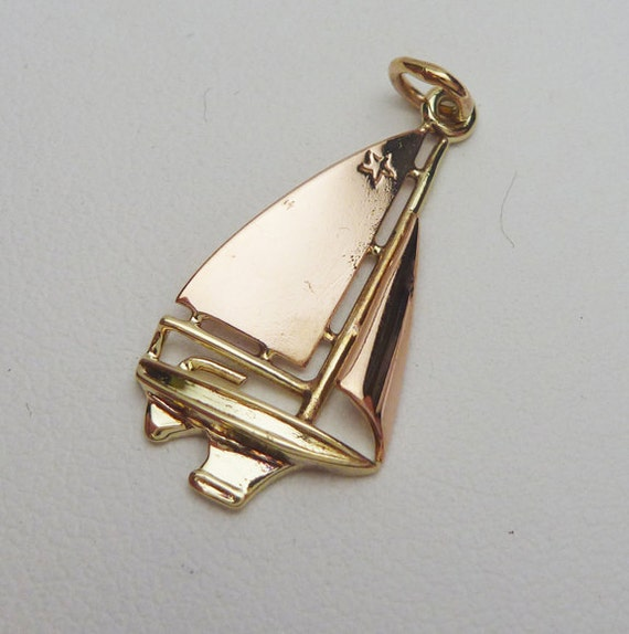 14kt Sailboat Rose and Yellow Gold Charm