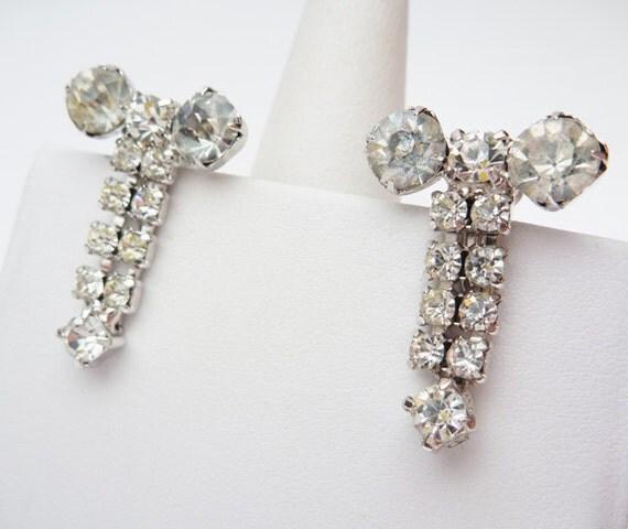 White Rhinestone Dangle Non Pierced Earrings
