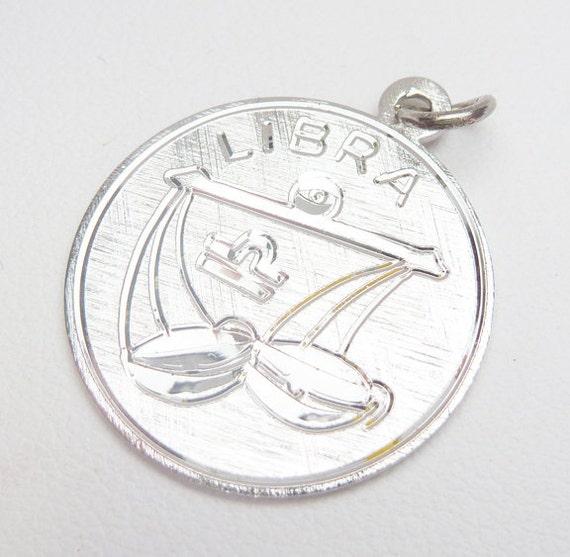 SS Libra Zodiac Disc Charm Sterling Silver
