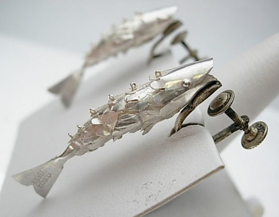 Movable Fish Non Pierced Earrings Sterling Silver