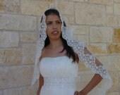 "CHAPEL LENGHT 76"" Wedding Veil - classic spanish veil,  Beaded Lace veil ,  SILVER thread"