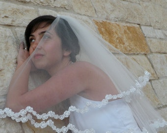 Lace Wedding Veil with Beaded Flower Edge in  Elbow  Length, two tier bridal veil with lace edge
