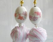 Pretty in Pink Porcelain Earrings Shabby Chic by AzureChine