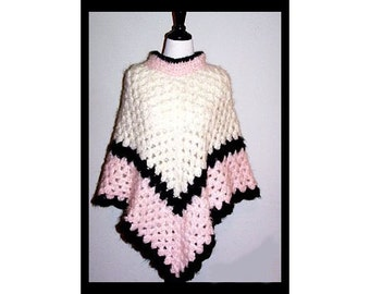 Pink, Charcoal and White Crocheted Poncho