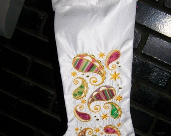 Personalized Embroidered  Shantung Christmas Stocking