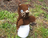 OOAK  Sweet Brown Crocheted  Squirrel Hand Puppet