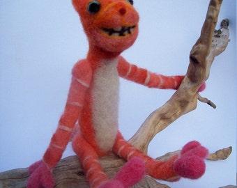 OOAK Smiley Orange  Wonderland Cheshire Cat Needle Felted Soft sculpture