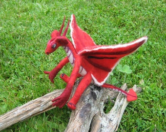 OOAK Red Fairy Dragon Needle Felted Soft Sculpture