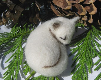 OOAK Sleeping White Arctic Fox Needle Felted Soft Sculpture