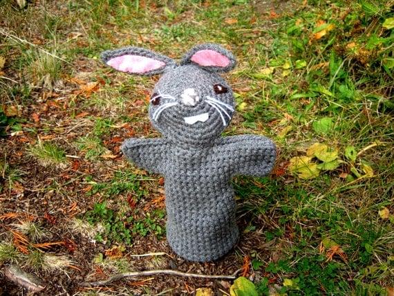 OOAK Crochet Mister Gray Bunny Rabbit  Hand Puppet