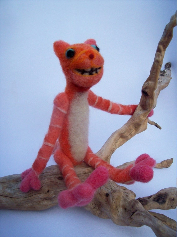 OOAK Smiley Orange  Wonderland Cheshire Cat Needle Felted Soft sculpture