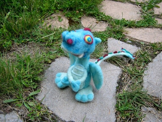 OOAK Magic Sky Blue Fairy Dragon Needle Felted Soft Sculpture