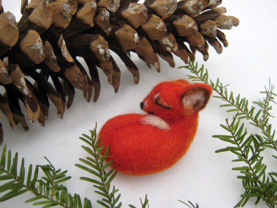 OOAK Sleeping Baby Red Fox Needle Felted Soft Sculpture