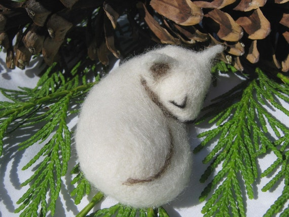 OOAK Sleeping White Arctic Fox Needle Felted Soft Sculpture