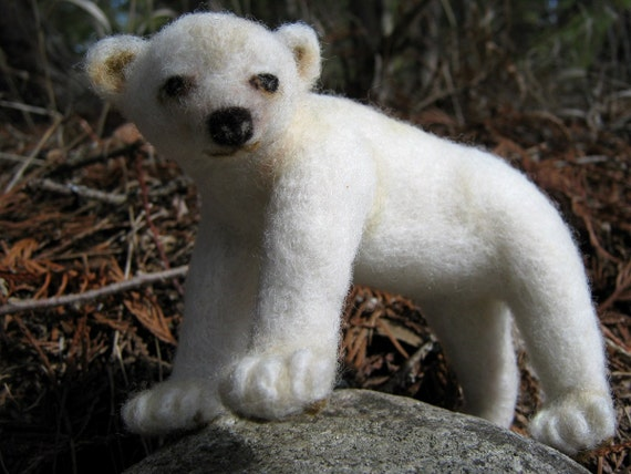OOAK White Woodland Spirit Bear Needle Felted Soft Sculpture